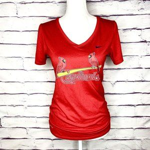 Nike St. Louis Cardinals Red V-Neck T-Shirt Top S
